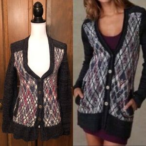WE THE FREE People Argyle Wool Foxtrot Cardigan